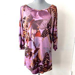 Vivienne Tam Vintage Purple Butterfly Dolman Tunic